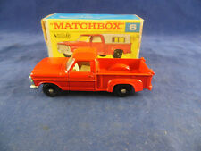 Matchbox Regular Wheels No. 6d Ford Pickup Truck in Red chrome grille no cover