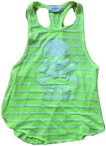 SOULCYCLE Racerback Muscle Tank Top Neon Green w White Stripes SOUL SUMMER XS