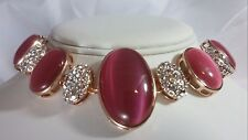 Roberto by RFM Cats Eye & Crystal Station Sterling Silver Bracelet Pink NEW