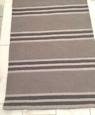 Pottery Barn Asher Boy Bedroom Playroom Office Gray Stripe WOOL Rug Carpet 5 NWT