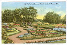 1942 DENVER COLO WASHINGTON PARK MOUNT VERNON GARDENS OLD LINEN POSTCARD PC360