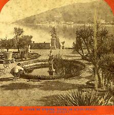 Stereoview Photo Vue De Stresa Prise De L'ile-Belle E Lamy Fountain Lake Statues