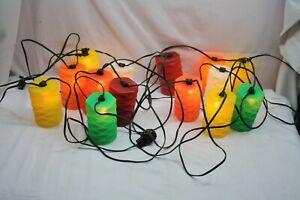 Vintage Tiki Electric Lanterns Set Of 14  Camping Lights Tiger Blow Mold 40'