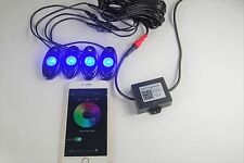 USA Seller RGB LED Rock Light Kit with Bluetooth Wireless Control (4 LED pods)