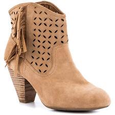 Jessica Simpson Orlina Camel Split leather Fringe bootie, Womens 10M New