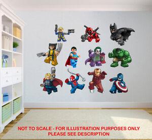 SUPERHERO CHILDREN KIDS BEDROOM VINYL DECAL WALL ART STICKER DOOR STICKERS