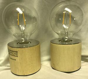 "Edison Bulb Accent Lamps Set Of 2 Natural Wood Filament Lighting 7 1/2"" Lamp"