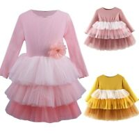 Toddler Kid Baby Girls Dress Long Sleeve Party Layered Tutu Dresses Clothes AU