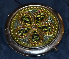 Compact Mirror round yellow flower blue pink silver metal purse makeup mirror