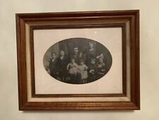 Antique Victorian Family Portrait Under Glass Framed Size 14.5x11.5 Inches