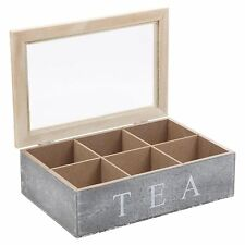 Section Wooden Tea Box Chalk Grey Glass Hinged Lid Kitchen Tea Bag