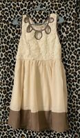 Anthropologie A'reve Womens A Line Dress Ivory Brown Cutout Scoop Neck Small New