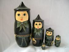 Neuf lot de 5 peint en bois nidification poupées russes sorcière 15CM l RD-61313