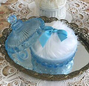 """Faux Fur 5"""" Powder Puff in Aqua Blue Opalescent Glass Dish Mosser Gift Set USA"""