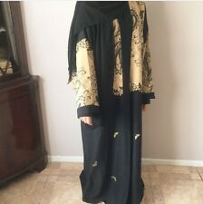 Dubia Style Women Black Open Front Abaya Jilbab Muslim Islamic Long Maxi Dress