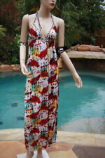 T-Bags Long Maxi dress  halter tie red yellow teal white black green M 6 8 10