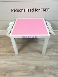 Lego Table All Pink Base Plate Organised Storage Play Set Up Personalised
