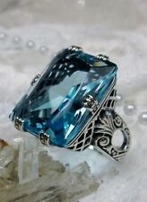 Big 30ct *Aquamarine* Art Deco 1930s Repro Sterling Silver Filigree Ring Size 10