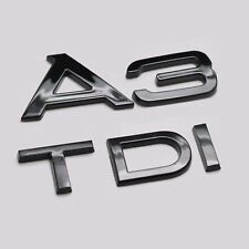 Gloss Black A3 TDI Car Badge Emblem Numbers Letters For Audi A3 Models
