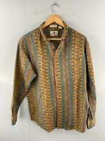 Forest Trail Men's Vintage Long Sleeve Western Shirt Size L Brown Blue