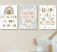 Kids Children's Bedroom Prints Wall Art Quote Scandi Rainbow Decor Girls Room A4