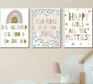 Kids Children's Bedroom Prints Wall Art Quote Scandi Rainbow Decor Girls Room A4