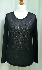 MICHA Woman's Black Long Sleeve Studded Fashion top size L Bargain RRP£35 NEW
