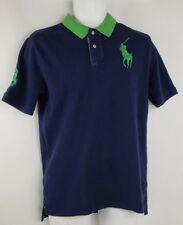 Polo Ralph Lauren Blue Green Big Pony #3 Rugby Polo Shirt Sz Boys XL Mens Sz S
