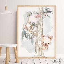 Baby, Nursery Wall Art Prints Australian Animals, Kangaroo, koala, Wombat prints