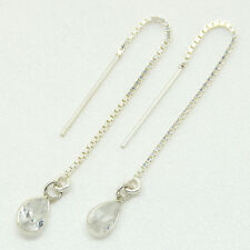925 Sterling Silver - Pull Through Earrings with Clear Tear Shaped CZ Stone