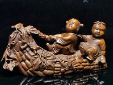 Decoration Handwork Boxwood Carving Two Children Auspicious Exquisite Statue