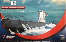 Mirage Hobby German Submarine Type IIA - U2 Model Kit 400203 in 1:400 Scale