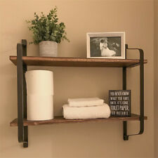 Rustic Industrial Pipe Wooden Metal Wall Floating Shelf Storage Shelving Unit UK
