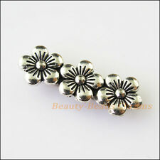 5Pcs Antiqued Silver 3Holes Flower Spacer Beads Bars Charms Connectors 9.5x26mm