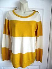 Banana Republic Sweater M NEW 100% Extra Fine Merino Wool Yellow White Stripes