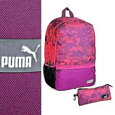 Puma Backpack Pencil Case Set Unisex Rucksack School Sports Bag Purple And Pink.