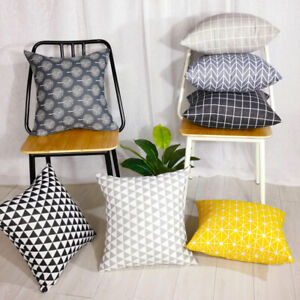Throw Pillows Covers Square Pillow Cases Cotton Linen Pillow Case Sofa Bed Decor