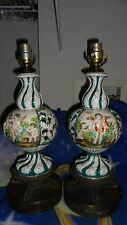 P.R SIGNED Antique Capodimonte Hand Painted Pierced Porcelain Table Lamps Italy