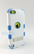 APPLE IPOD TOUCH 5 6 5TH 6TH GEN WHITE TEAL TUFF CASE HYBRID STAND COVER