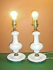 Pair Vintage Hobnail & Spiral White Milk Glass Table Bedside Electric Lamps
