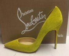Christian Louboutin Iriza 100 Neon Yellow Suede Pumps Heels Shoes 40