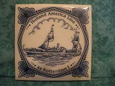 HOLLAND AMERICA LINE~SS ROTTERDAM I~COASTER TILE~BLUE DELFT~CORK BACK