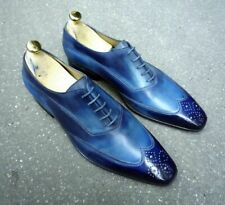 Handmade Men's Leather Lace Up Shoes, Men Blue Wing Tip Brogue Stylish Shoes