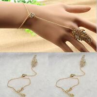 Vogue 1X Gold Plated Chain Leaves Bracelet Bangle Slave Finger Ring Hand Harness