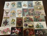 ~ Lot of 25~Flowers in Vases & Baskets ~Vintage Floral~ Greetings Postcards-a826