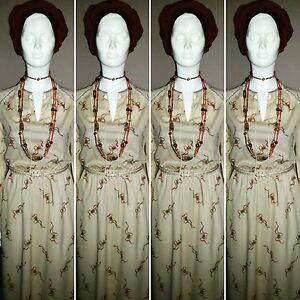 Vintage 1970's Cream Day Dress By West German HARDOB. Size 14.