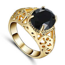 Popular Jewelry Band Men Women Black Topaz 18K yellow gold filled Party Ring Sz9