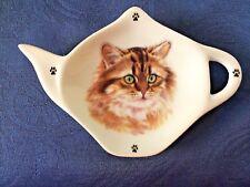 Tabby Long Hair Cat New Handmade Ceramic Porcelain Tea Bag Holder Spoon Rest Pet