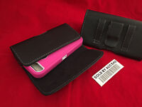 HORIZONTAL BLACK LEATHER BELT CLIP POUCH HOLSTER FOR IPHONE 6 PLUS HYBRID ARMOR