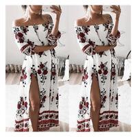 Womens Lady Off Shoulder Floral Dress Beach Holiday Split Maxi Long Dress Summer